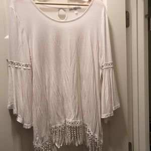 White Bell Sleeve Blouse with lace fringe